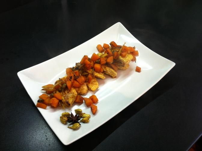 Pollo e carote speziate