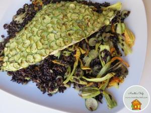 Pesce in crosta di zucchine con riso venere